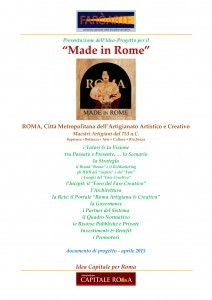 "Made in Rome"", Idea Capitale per Roma"